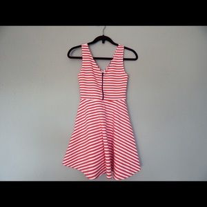 Zipper Skater Dress Coral XS stripes fit and flare